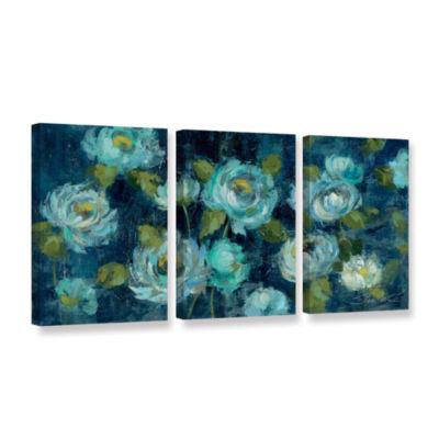 Brushstone Indigo Mums 3-pc. Gallery Wrapped Canvas Wall Art