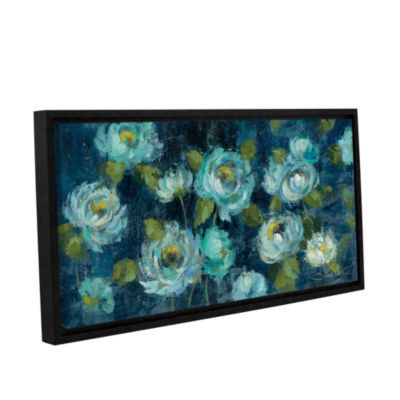 Brushstone Indigo Mums Gallery Wrapped Floater-Framed Canvas Wall Art