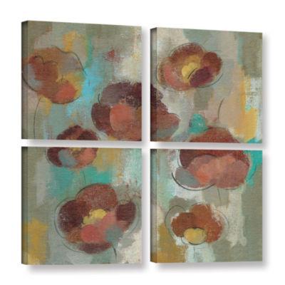 Brushstone Marsala Blossoms II 4-pc. Square Floater Framed Canvas Wall Art