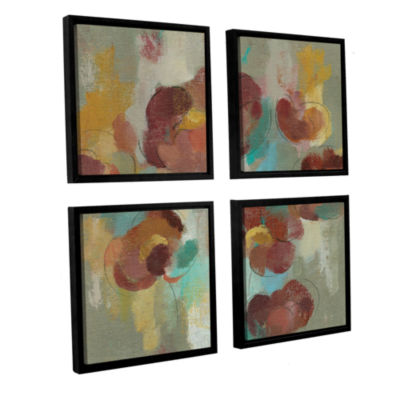 Brushstone Marsala Blossoms III 4-pc. Square Floater Framed Canvas Wall Art