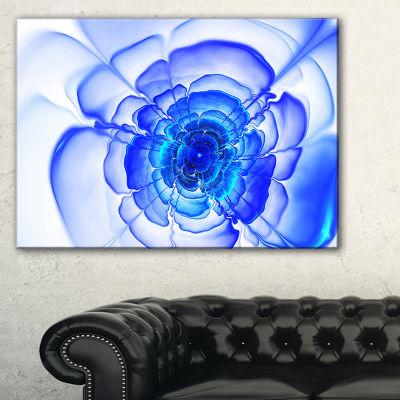 Designart Blue Fractal Flower Petals Floral CanvasArt Print