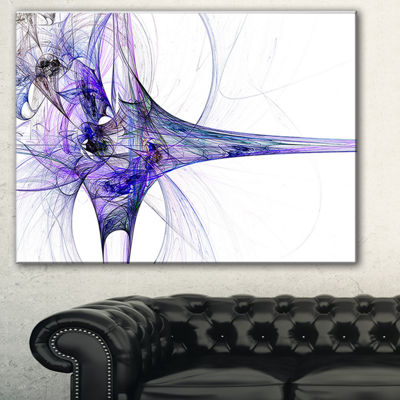 Designart Fractal Artwork Blue Abstract Canvas ArtPrint - 3 Panels