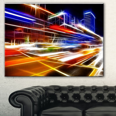 Design Art High Speed Traffic Trails Cityscape Digital Art Canvas Print - 3 Panels