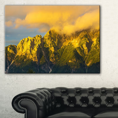 Designart Highrise Green Mountains Landscape PhotoCanvas Art Print - 3 Panels