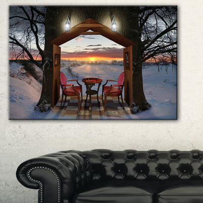 Designart Home Shaped Trees Collage Landscape Canvas Art Print
