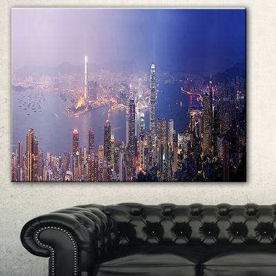 Designart Hong Kong From Day To Night Cityscape Photo Canvas Print - 3 Panels