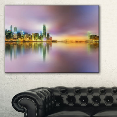 Designart Hong Kong Panorama At Twilight CityscapePhoto Canvas Print - 3 Panels