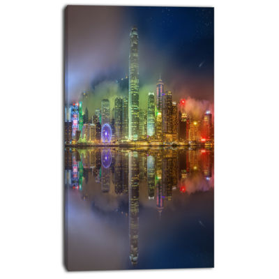 Designart Hong Kong Panoramic View Seascape Photography Canvas Art Print