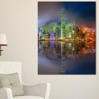 Designart Hong Kong Panoramic View Seascape Photography Canvas Art Print - 3 Panels
