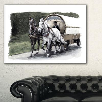 Designart Horse Cart Black And White Animal Painting Canvas Art Print - 3 Panels