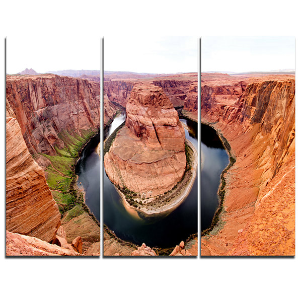 Designart Horse Show At Grand Canyon Landscape Photography Canvas Print - 3 Panels