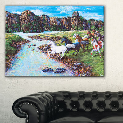 Designart Horses Crossing The Stream Landscape Painting Canvas Print - 3 Panels