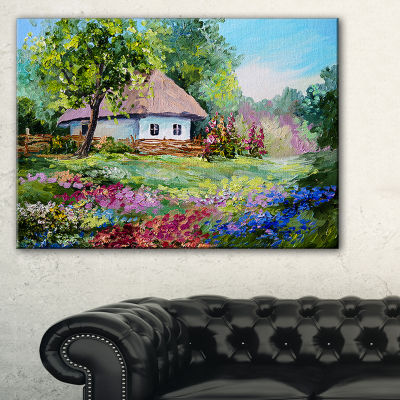 Designart House In The Village Oil Painting Landscape Art Print Canvas