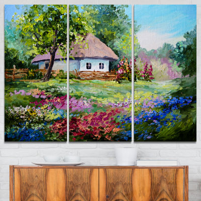 Designart House In The Village Oil Painting Landscape Art Print Canvas - 3 Panels