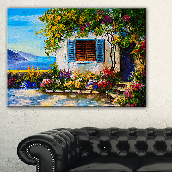 Designart House Near Sea Oil Painting Landscape Painting Canvas Print