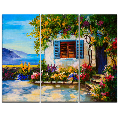 Designart House Near Sea Oil Painting Landscape Painting Canvas Print - 3 Panels
