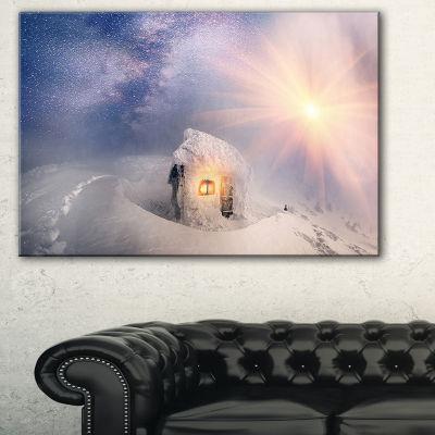 Design Art House Of Rescuers Hoverla Landscape Photo Canvas Art Print - 3 Panels