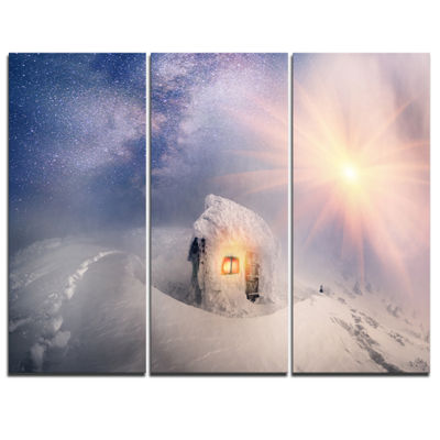 Designart House Of Rescuers Hoverla Landscape Photo Canvas Art Print - 3 Panels