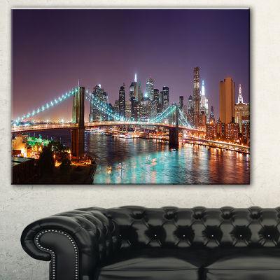 Designart Hudson River Panoramic View Landscape Photography Canvas Print - 3 Panels