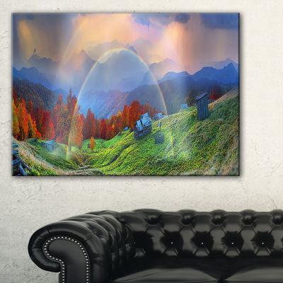 Designart Huts Over Autumn Mountains Landscape Photo Canvas Art Print - 3 Panels