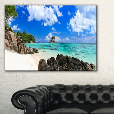 Designart Ideal Beach In Seychelles Seascape Photography Canvas Art Print - 3 Panels