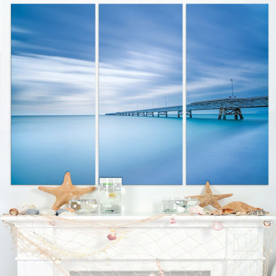 Designart Industrial Pier In The Sea Seascape Canvas Art Print - 3 Panels