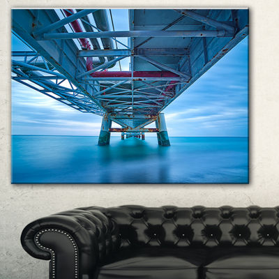 Designart Industrial Pier Seascape Canvas Art Print - 3 Panels