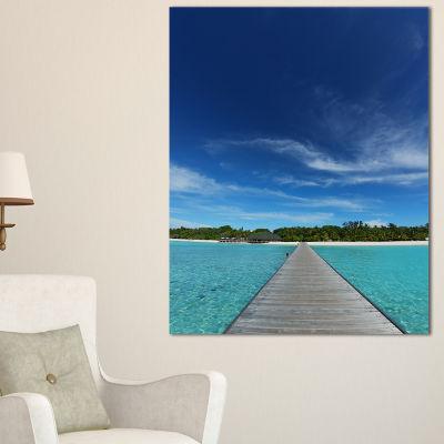 Designart Infinite Sea Pier Seascape PhotographyCanvas Art Print - 3 Panels