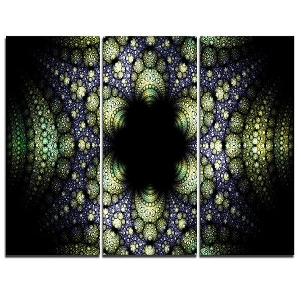 Designart Into The Center Of Fraction Abstract Canvas Art Print - 3 Panels