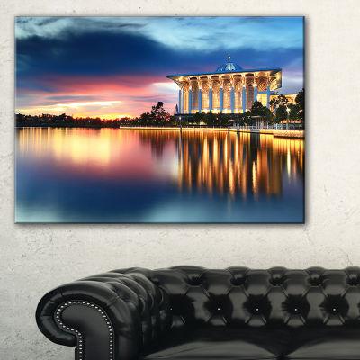 Designart Iron Mosque Malaysia Panorama Seashore Photo Canvas Print - 3 Panels
