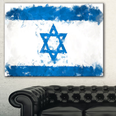 Designart Israel Flag Illustration Flag Painting Canvas Print - 3 Panels