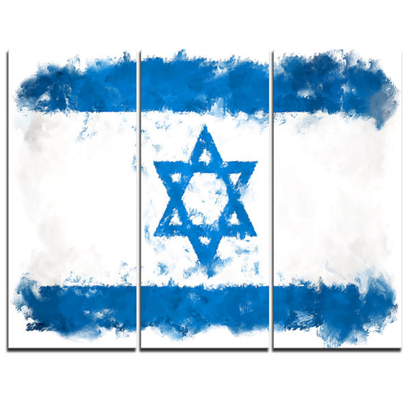 Designart Israel Flag Illustration Flag PaintingCanvas Print - 3 Panels