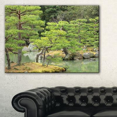 Designart Japanese Garden In Early Autumn Landscape Photography Canvas Print - 3 Panels