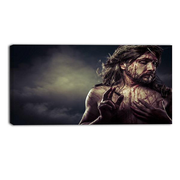 Designart Jesus Christ With Crown Of Thorns Abstract Portrait Canvas Print