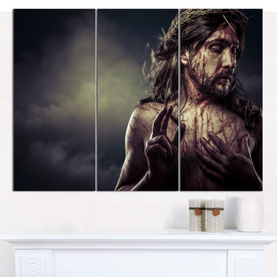 Designart Jesus Christ With Crown Of Thorns Abstract Portrait Canvas Print - 3 Panels