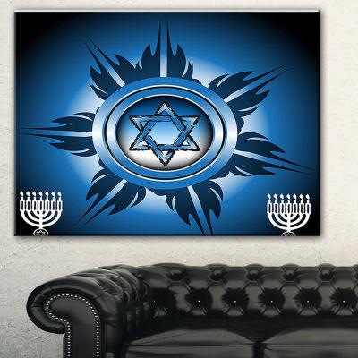 Designart Jewish Symbols Abstract Canvas Art Print- 3 Panels