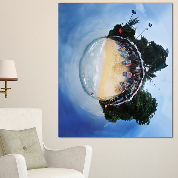 Designart Jomtien Street Planet Panorama AbstractPrint On Canvas - 3 Panels