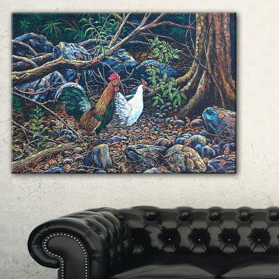 Designart Jungle Fowl In Forest Landscape CanvasArt Print - 3 Panels