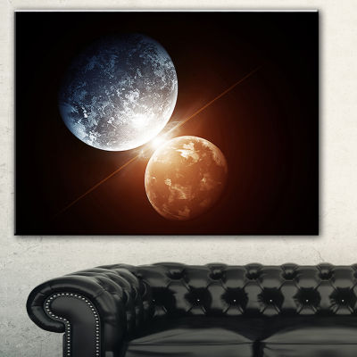 Designart Kiss Between Two Planets Spacescape Canvas Art Print - 3 Panels