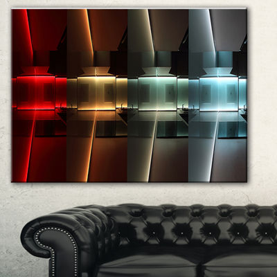 Designart Kitchen With Led Lighting Abstract Canvas Art Print - 3 Panels