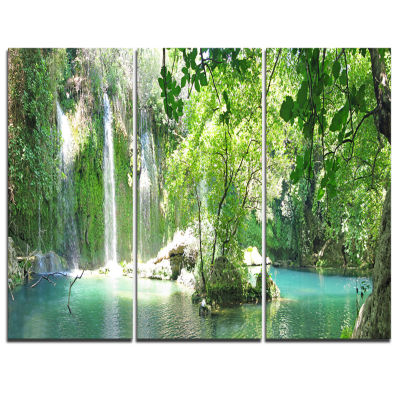 Designart Kursunlu Waterfalls Antalya Landscape Photography Canvas Print - 3 Panels