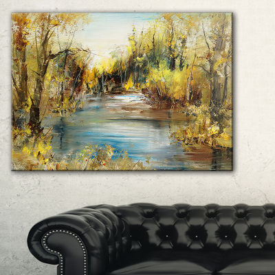 Designart Lake In Forest Oil Painting Landscape Painting Canvas Print