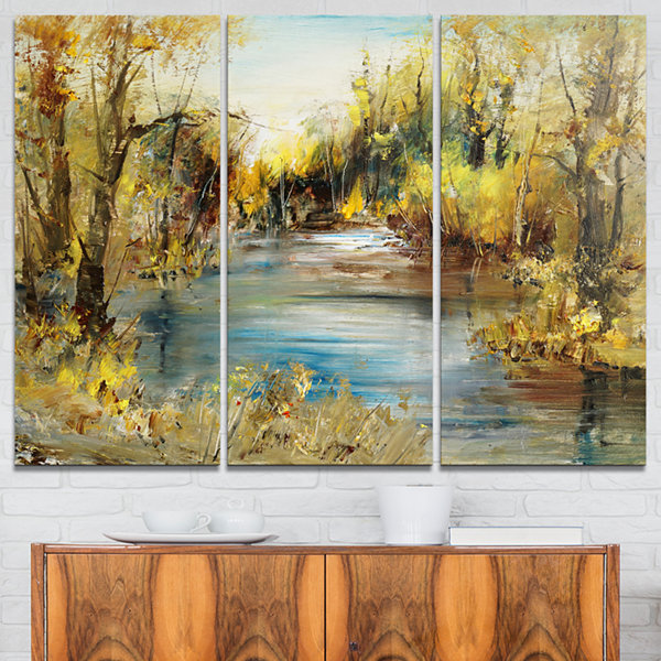 Designart Lake In Forest Oil Painting Landscape Painting Canvas Print - 3 Panels