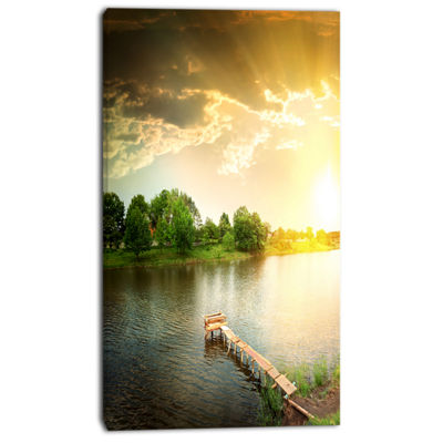 Designart Lake Under Evening Sun Landscape PhotoCanvas Art Print