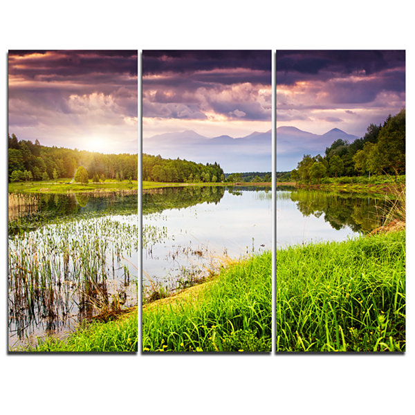 Designart Lake Under Overcast Sky Landscape Photography Canvas Art Print - 3 Panels