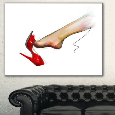 Designart Leg Wearing High Heel Red Shoe AbstractPortrait Canvas Print