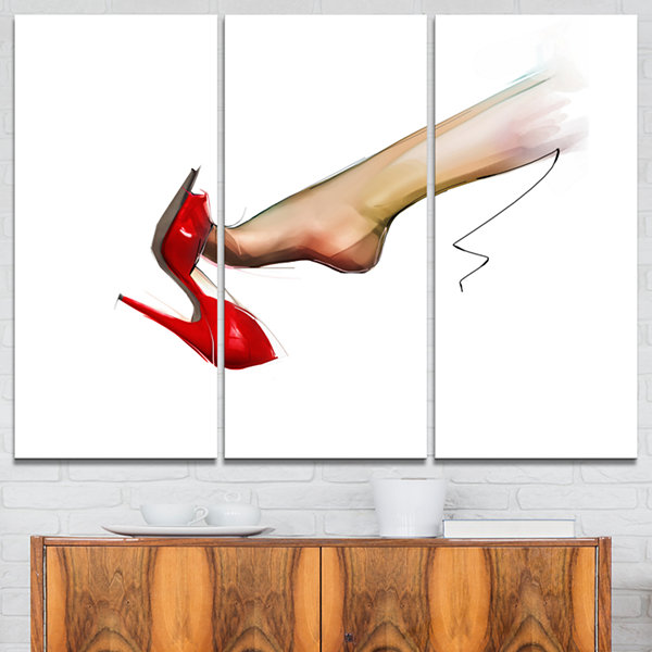 Designart Leg Wearing High Heel Red Shoe AbstractPortrait Canvas Print - 3 Panels