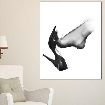 Designart Leg Wearing High Heel Shoe Abstract Portrait Canvas Print - 3 Panels