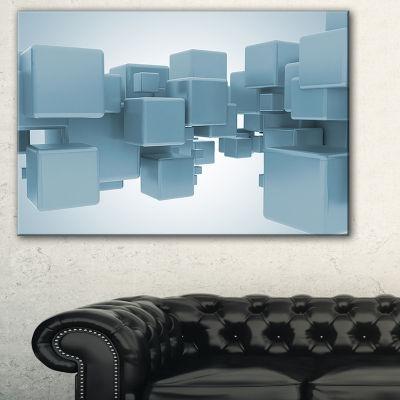 Designart Light Blue 3D Cubes Abstract Canvas ArtPrint