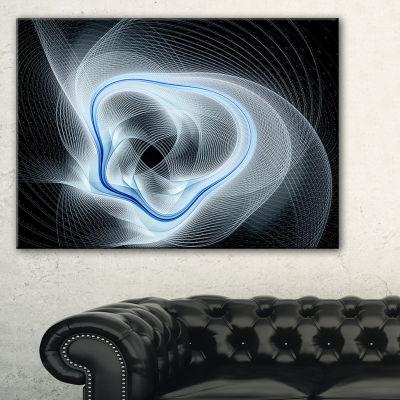 Designart Light Blue Abstract Fractal Flower Floral Art Canvas Print